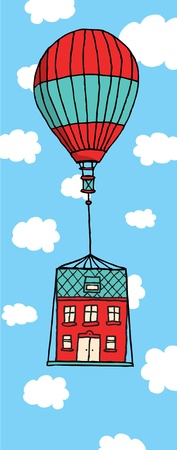 moving house: Moving house floating with balloon Illustration