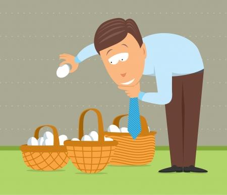 계란을 다른 바구니에 넣는 것 일러스트