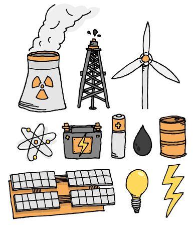 Energy vector icon set  Alternative power generation Vector