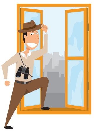 Man adventuring out of his office Stock Illustratie