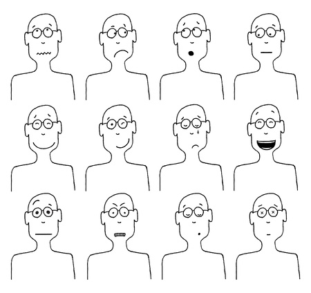 expressing negativity: Vector cartoon faces and emotions