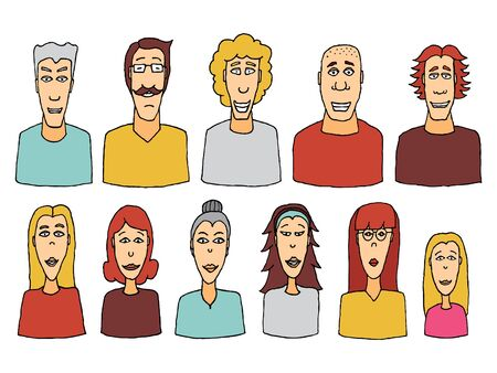 unrecognizable person: Cartoon character set  Vector people icon