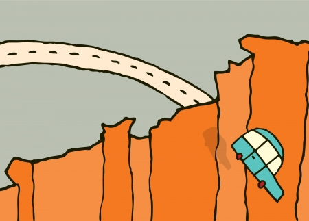 Falling car  Jumping off a cliff Vector