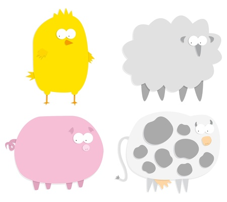 Vector farm animals (paper cut style) Stock Vector - 19150601