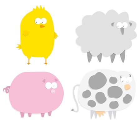 Vector farm animals (paper cut style) Stock Vector - 19150601