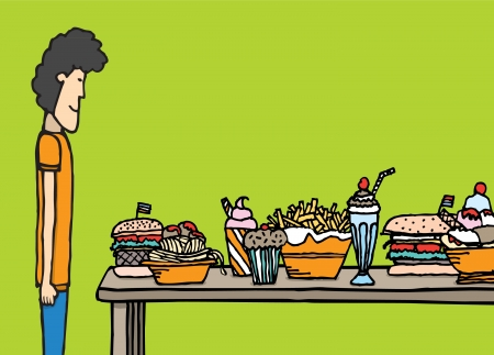 dinner party table: Guy in big feast Illustration
