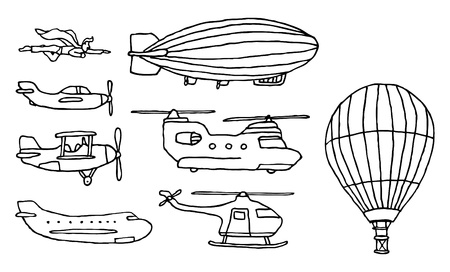 Flying  Air vehicles set Vector