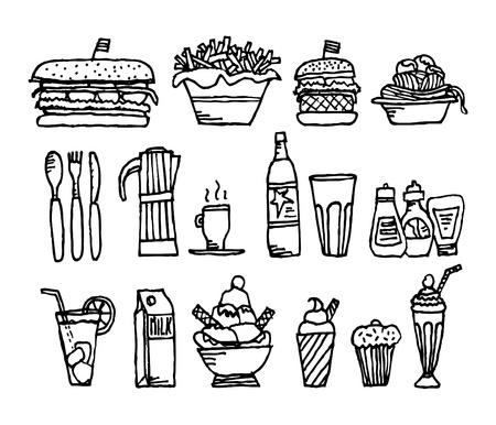 food stuff: Food and drinks  Restaurant stuff Illustration