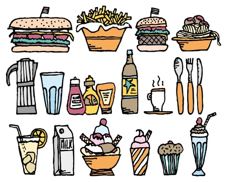 Food and drinks / Color restaurant stuff Stock Vector - 19150665