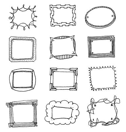 childishness: Hand drawn vector picture frame set Illustration