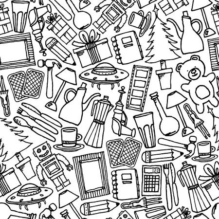 Garage sale seamless pattern / Objects background  イラスト・ベクター素材