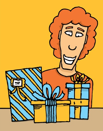 adult birthday party: Guy receiving gifts