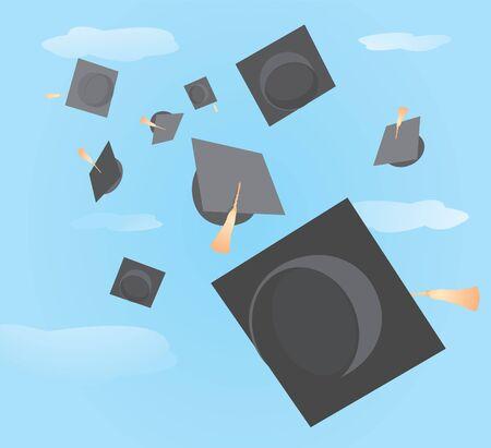 graduation cap: Graduation caps tossed up
