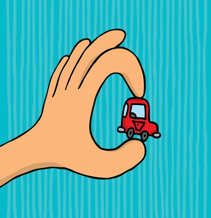 land owner: Hand holding tiny car Illustration