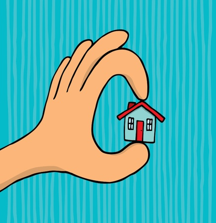 housing problems: Hand holding tiny house