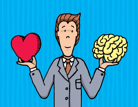 Businessman choosing between heart and brain
