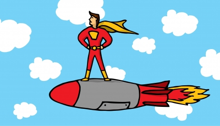 Hero riding a rocket Vector