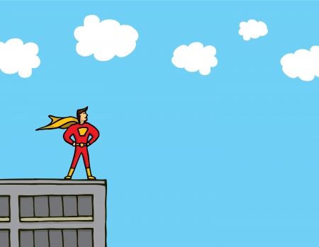 Superhero standing on a building ledge