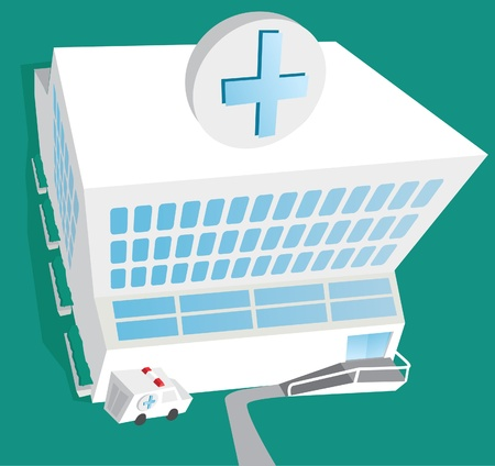 Hospital entrance and ambulance Stock Vector - 19150624