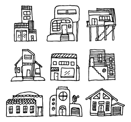 residential district: House icon set  Architecture