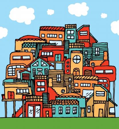 global village: Community  Piled cartoon houses