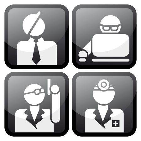 proffesional: Proffesional at work icon set