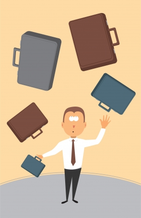 employment issues: Businessman juggling with briefcases Illustration