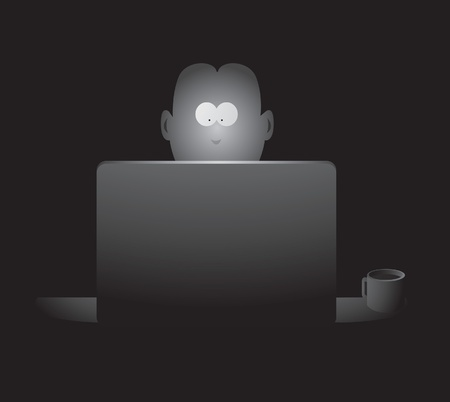 peek: Guy spending late hours in front of the screen Illustration