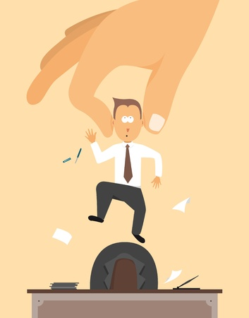 downsizing: Fired  Layoff or Hand removing employee from desk