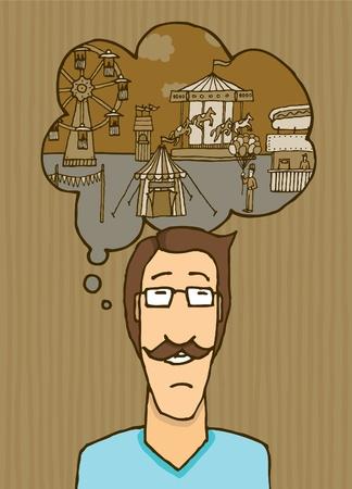 melancholic: Melancholic guy thinking of carnival Illustration