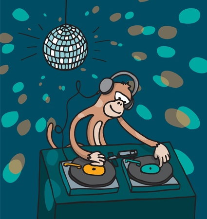 dj headphones: Monkey disc jockey playing music Illustration
