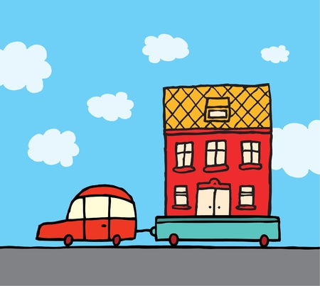 Home moving  Car and trailer relocating house Illustration