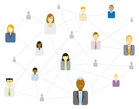 global village: Social  Business network connecting (Diversity) Illustration