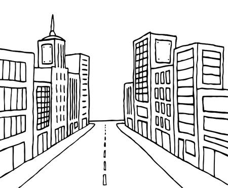 Cartoon line city
