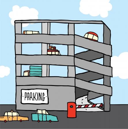 Cartoon multi-level parking garage Illustration