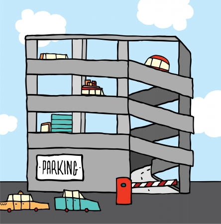 Cartoon multi-level parking garage 向量圖像