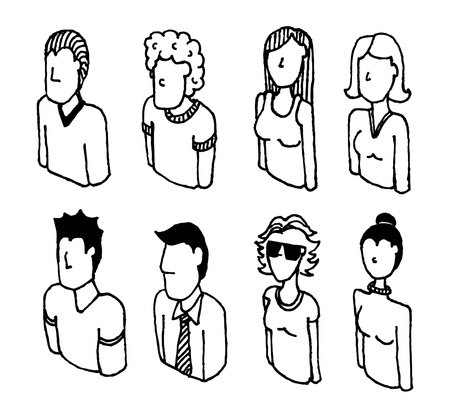 unrecognizable person: People icon set  Linear characters Illustration