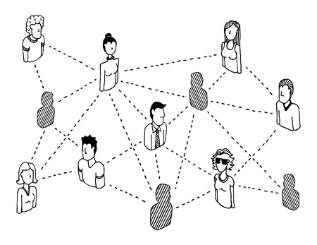 global village: Social network connecting  People relations Illustration