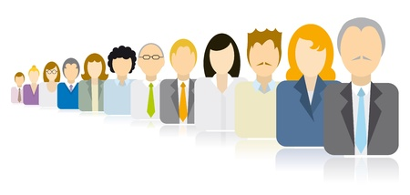 Business people icons team / Endless queue Stock Vector - 19177534