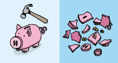 economic depression: Piggy bank destroyed   Economic depression Savings
