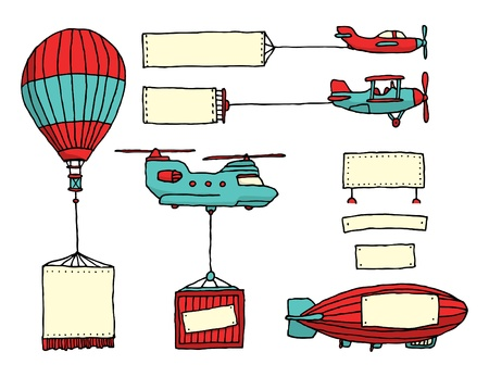 Cartoon set of air vehicles with banners