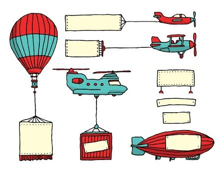avion caricatura: Conjunto de dibujos animados de veh�culos a�reos con banners Vectores