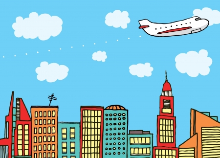 private airplane: Plane flying above the city Illustration