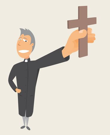 clerical: Priest holding cross   Holy occupation