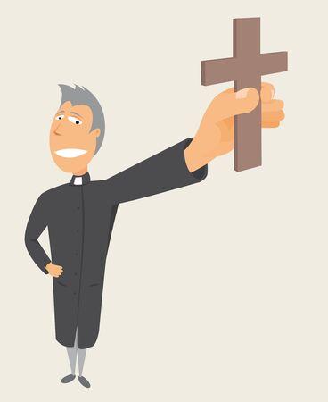 toog: Priester bedrijf kruis Heilige bezetting