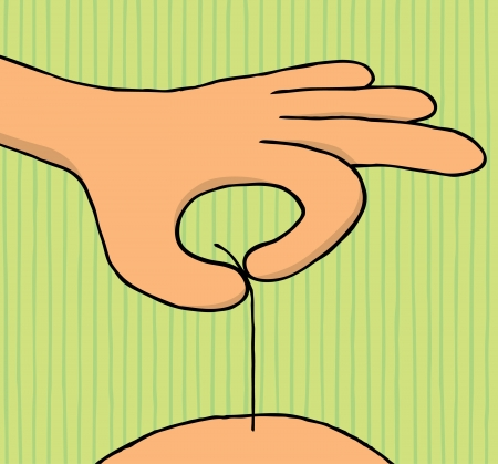 shaved head: Hand pulling single hair Illustration
