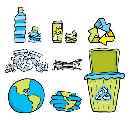 wastepaper: Environmental conservation   Recycling set