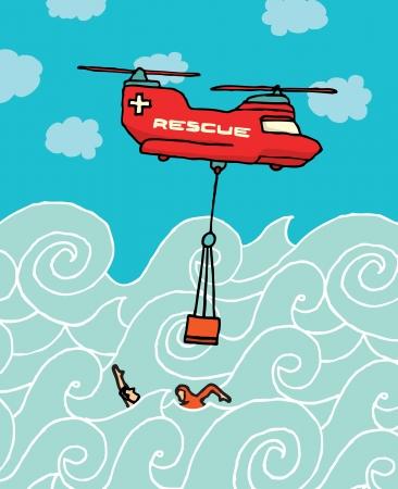 Helicóptero del rescate en el mar Ilustración de vector