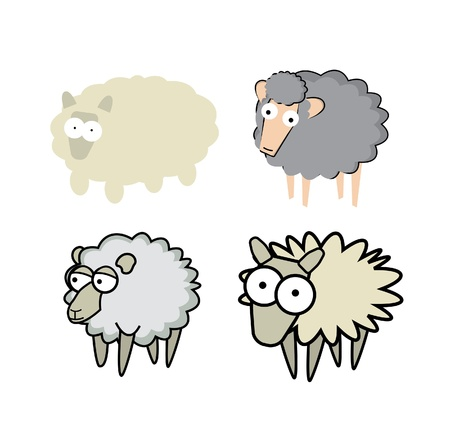 Different cartoon style sheeps Stock Vector - 19178768