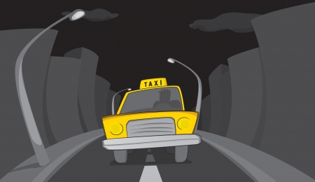 Taxi in the city night Stock Vector - 19178613